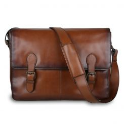 Стильная мужская сумка через плечо из натуральной кожи светло-коричневого цвета от Ashwood Leather, арт. Ernest Tan