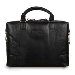 Мужская деловая сумка из натуральной кожи, черного цвета, с отделом для ноутбука от Ashwood Leather, арт. G-34 Black