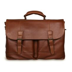 Элегантный большой мужской портфель из натуральной кожи с ремешками застежками от Ashwood Leather, арт. Henry Honey