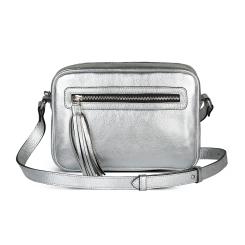 Женская сумка на плечо из натуральной кожи серебристого цвета от Avanzo Daziaro, арт. 018 1016S