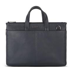 Практичная мужская деловая сумка из натуральной синей кожи от Avanzo Daziaro, арт. 018-051303