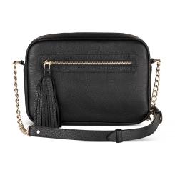 Черная женская сумка через плечо с пушистой кожаной кисточкой от Avanzo Daziaro, арт. 018-101601G