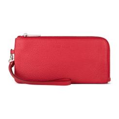 Мягкий женский кошелек из натуральной кожи красного цвета, модель на молнии от Avanzo Daziaro, арт. 018 031304