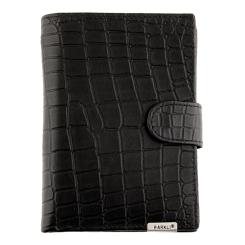 Вместительное мужское портмоне из черной натуральной кожи с тиснением от Barkli, арт. 00003-9 black Br