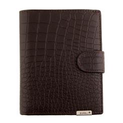 Кожаное мужское портмоне, с тиснением под рептилию, коричневого цвета от Barkli, арт. 00015-9 coffee Br