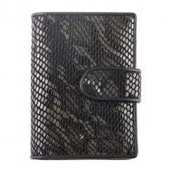Стильная визитница из черной натуральной кожи с тиснением под рептилию от Barkli, арт. 00023-A21 black Br
