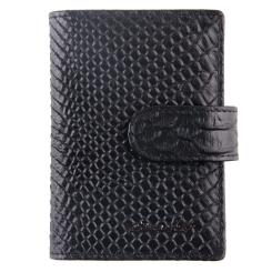 Визитница из натуральной кожи с тиснением под змею, черного цвета от Barkli, арт. 00023-A279 black Br