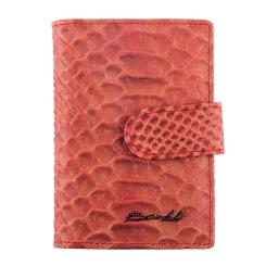Визитница из натуральной кожи с тиснением под рептилию, красного цвета от Barkli, арт. 00023-A280 red Br