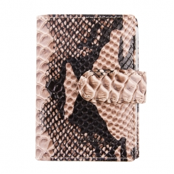 Необычная визитница из натуральной кожи с тиснением под рептилию от Barkli, арт. 00023-A287 grey Br