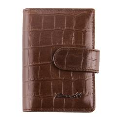 Визитница из натуральной кожи с тиснением под рептилию, коричневого цвета от Barkli, арт. 00023-A354 brown Br