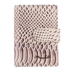Стильная визитница из натуральной кожи с тиснением под рептилию от Barkli, арт. 00023-A376 l.brown Br
