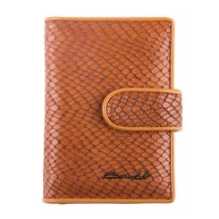 Визитница из натуральной кожи с тиснением под змею, коричневого цвета от Barkli, арт. 00023-A57 brown Br