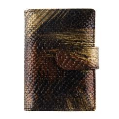 Стильная визитница из натуральной кожи с тиснением под рептилию от Barkli, арт. 00023-A7 black/gold Br