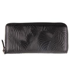 Женский кошелек из черной натуральной кожи с тиснением от Barkli, арт. 00051-A226 black Br