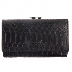 Женский кошелек из натуральной кожи, черного цвета, с тиснением от Barkli, арт. 018C-A297-B black Br