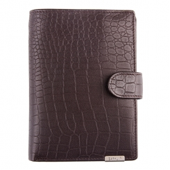 Кожаное мужское портмоне, с тиснением под рептилию, коричневого цвета от Barkli, арт. 025-9 coffee Br