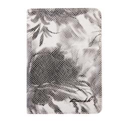 Эффектная женская обложка для документов, украшенная цветами от Barkli, арт. 00019-A218 white/black Br