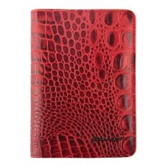 Красная обложка для документов с из натуральной кожи с тиснением под рептилию от Barkli, арт. 00019-A307 red Br