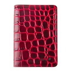 Стильная женская кожаная обложка для документов с крупным тиснением от Barkli, арт. 00019-A363 red Br