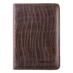 Элегантная обложка для документов из натуральной тисненной кожи от Barkli, арт. 00019-A70 grey Br