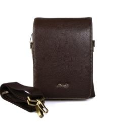 Маленькая мужская кожаная сумка с широким клапаном на кнопке от Barkli, арт. 270-1 02 coffee Br