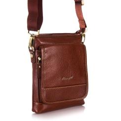 Коричневая мужская сумка планшет из натуральной кожи с одним отделом от Barkli, арт. 301 01 brown Br