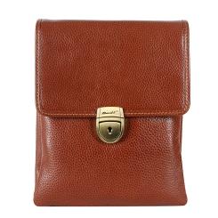 Мужская маленькая сумка через плечо из натуральной кожи с портфельной застежкой от Barkli, арт. 308 01 brown Br