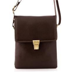 Маленькая мужская сумка из натуральной кожи с застежкой на клапане от Barkli, арт. 308 02 coffee Br