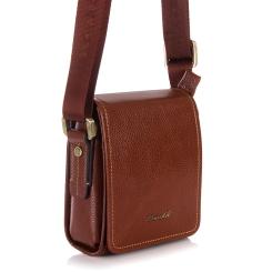 Мужская маленькая сумка из натуральной кожи с длинным плечевым ремнем от Barkli, арт. 309 01 brown Br