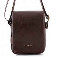 Маленькая мужская сумка через плечо с одним отделом под откидной частью от Barkli, арт. 310 02 coffee Br