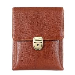 Стильная мужская барсетка коричневого цвета, из натуральной кожи от Barkli, арт. 3277 01 brown Br