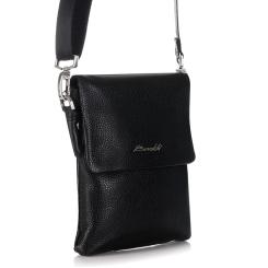 Мужская маленькая сумка из натуральной кожи с узким отделением от Barkli, арт. 3419B 03 black Br