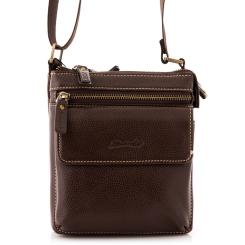 Маленькая мужская сумка через плечо из коричневой натуральной кожи от Barkli, арт. 3421 02 coffee Br