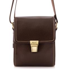 Мужская маленькая сумка, выполненная из натуральной кожи с застежкой на клапане от Barkli, арт. 3422A 02 coffee Br