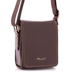Маленькая мужская кожаная сумка через плечо, выполненная в лаконичном стиле от Barkli, арт. 3422B 02 coffee Br