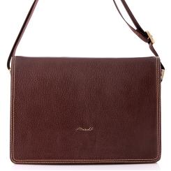 Мужская кожаная сумка для документов с одним вместительным отделом от Barkli, арт. 3450 02 coffee Br
