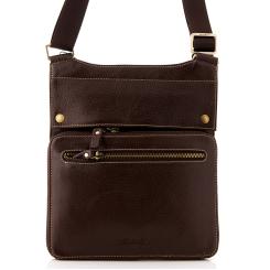 Маленькая мужская сумка из коричневой зернистой натуральной кожи от Barkli, арт. 9000-4 02 coffee Br