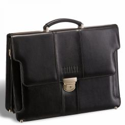 Деловой большой мужской кожаный портфель, модель черного цвета от Brialdi, арт. Kant black