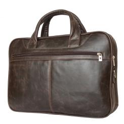 Коричневая мужская деловая сумка из натуральной большого размера от Carlo Gattini, арт. 1006-02