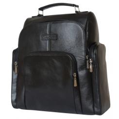 Объемный мужской деловой рюкзак из натуральной кожи черного цвета от Carlo Gattini, арт. 3043-01