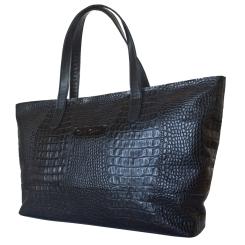 Практичная большая женская сумка из натуральной кожи черного цвета с тиснением от Carlo Gattini, арт. 8006-01