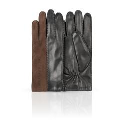 Двухцветные мужские перчатки из натуральной кожи ягненка и замши от Dali Exclusive, арт. 100_ARSON/BL//11