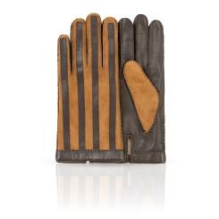 Двухцветные мужские перчатки из натуральной кожи и замши от Dali Exclusive, арт. 100_PAT/BR.CAMEL//11