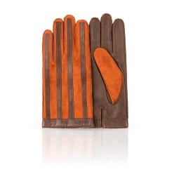 Двухцветные мужские перчатки из натуральной кожи с шерстяной подкладкой от Dali Exclusive, арт. 100_PAT/GORJ.ST//11