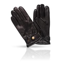 Мужские перчатки из натуральной кожи ягненка со стильной застежкой от Dali Exclusive, арт. 11_BOND/BL//11