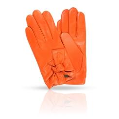 Ярко-оранжевые женские перчатки из натуральной кожи ягненка от Dali Exclusive, арт. 11_HETAIRE/ORANGE