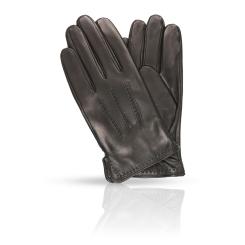 Мужские перчатки из гладкой натуральной кожи ягненка черного цвета от Dali Exclusive, арт. 11_MURES/BL