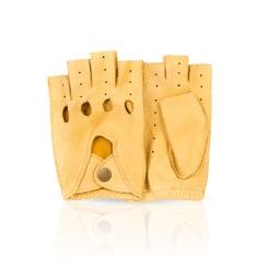 Стильные автомобильные женские перчатки из натуральной кожи оленя желтого цвета от Dali Exclusive, арт. ADM0.5/YEL//11