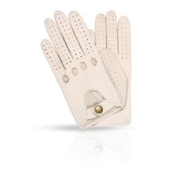 Автомобильные женские перчатки из натуральной кожи ягненка белого цвета от Dali Exclusive, арт. ALG21/WHITE