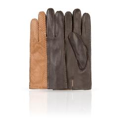 Перчатки из натуральной кожи ягненка коричневого цвета и бежевой замши от Dali Exclusive, арт. R86_CORVIN/CHAM//11